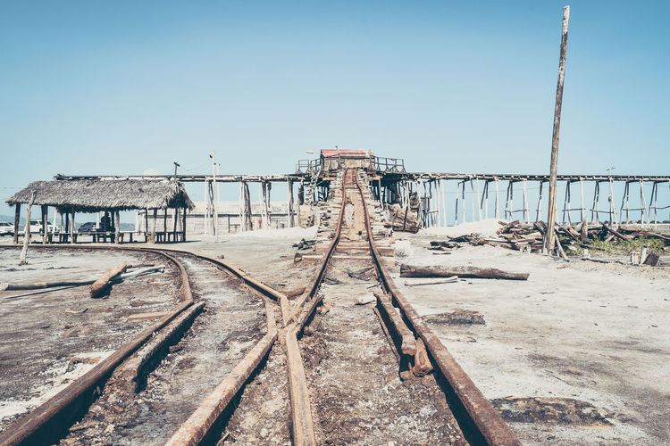 Clear Sky Day Dominican Republic Eyeem Market No People Outdoors Railroad Track Salt Sky Wood - Material