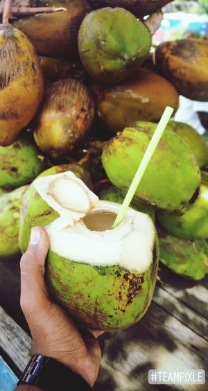 be hydrated! Coconut Tenderness Tender Coconut Coconutwater Human Hand Fruit Drink Healthy Lifestyle Drinking Straw Close-up Food And Drink Green Color