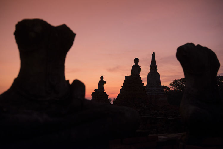 Art Art And Craft Creativity Famous Place History Human Representation Low Angle View Place Of Worship Religion Sculpture Silhouette Sky Spirituality Statue Sunset Temple - Building Travel Travel Destinations