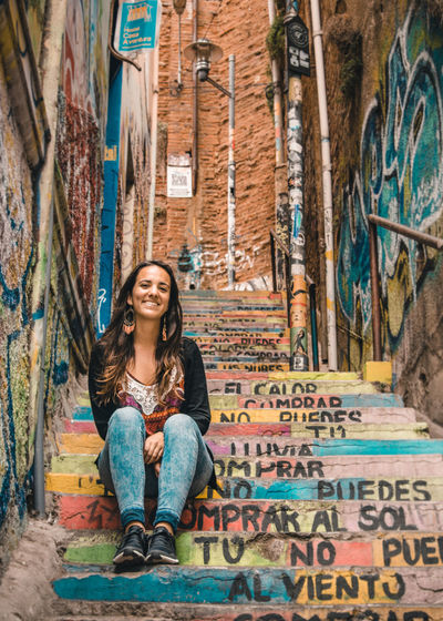 Exploring one of the most charming cities in South America. Architecture City City Life Cityscape Latin America Travel Art Beautiful Woman Explore Front View Looking At Camera Moody Multi Colored No People One Person Outdoors Portrait Sitting Smiling South America Street Streetart Travel Destinations Urban Young Adult