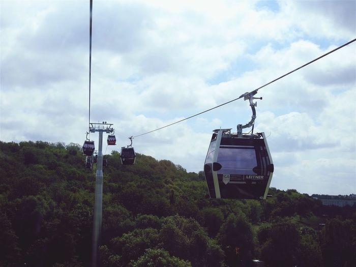 Sky Cable Tree Transportation Cloud - Sky Overhead Cable Car Mode Of Transport Day Power Line  Outdoors Nature Low Angle View No People Ski Lift IGA 2017 Berlin Germany