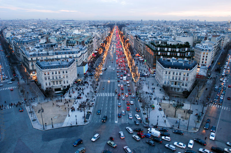 Sunset at Champ Elysee on Paris, France Paris France🇫🇷 Champ Elysee City Building Exterior Architecture Built Structure Transportation Cityscape High Angle View Road Motor Vehicle Car Street Mode Of Transportation Traffic City Street Crowd Land Vehicle Travel Destinations Crowded City Life Outdoors