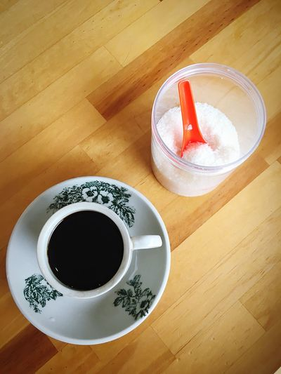 Black coffee No Sugar Less Sugar Drink Food And Drink Refreshment Cup Mug Coffee Table Directly Above Black Coffee No People Indoors  High Angle View Food Freshness Saucer Coffee - Drink Healthy Eating Still Life Coffee Cup Crockery