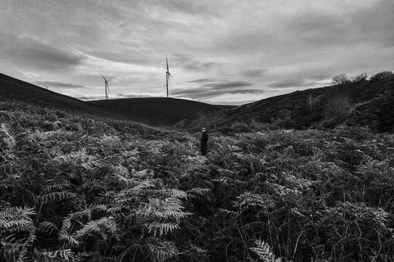 Black & White Windturbines Valley Hills Scotland