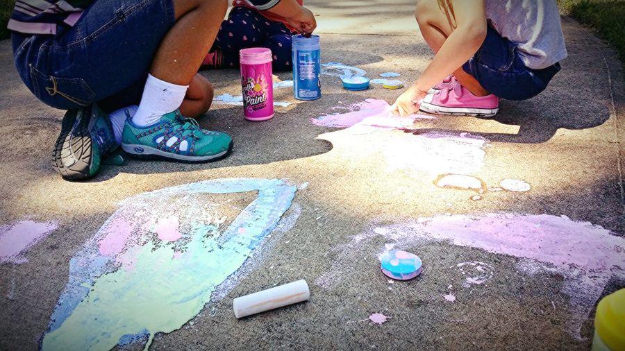 Children Chalkart Messyfun Park Outside Screen Free Fun Light And Shadow Oversaturation