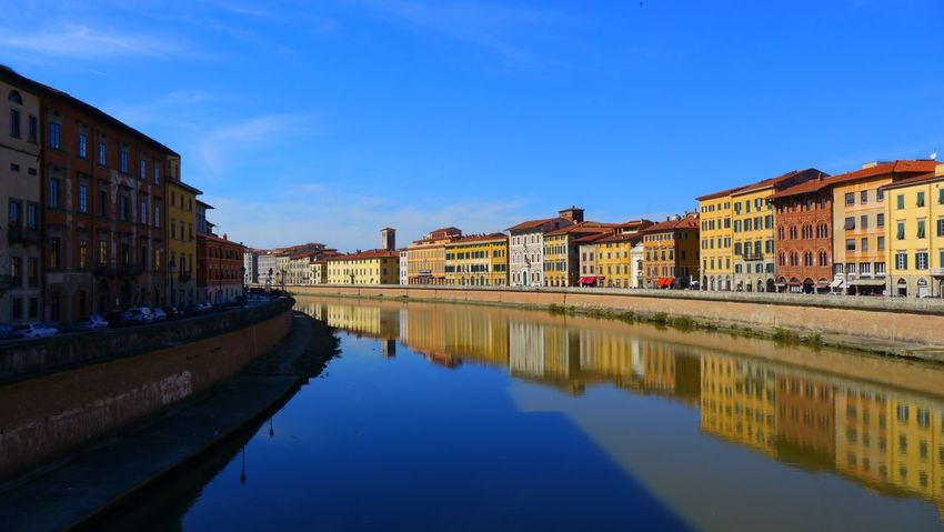 Reflection Building Exterior Architecture Built Structure Canal Water Waterfront City Sky No People Outdoors Pastel Day Pisa