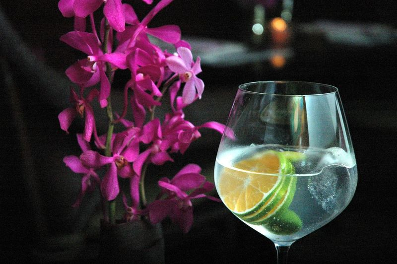 Drink Flower Glass Food And Drink Freshness Flowering Plant Refreshment Transparent No People Indoors  Close-up Plant Still Life Table Focus On Foreground Glass - Material Alcohol Household Equipment Drinking Glass Vase Flower Head Cocktails Cocktail Gin And Tonic Eyeem Philippines Eyeem Philippines Album