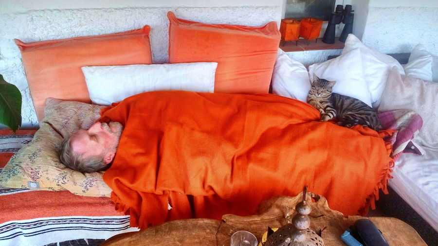 Snoozing with Rollo Robin Fifield Man & Cat Sleeping Orange Blanket My First Photo On EyeEm  First Eyeem Photo Alfresco Nap Sunday Afternoon Snooze Snooze On The Terrace Siesta 40 Winks