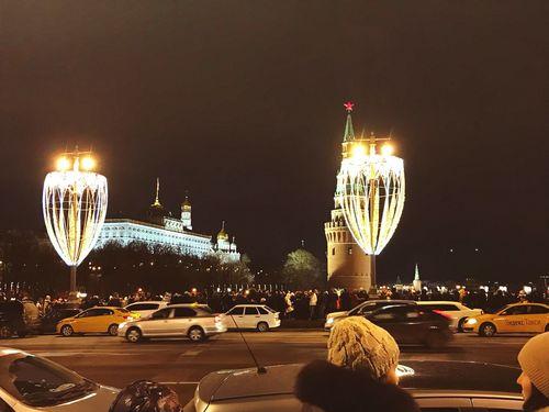 Новогодняя Москва. After New Year in Moscow Night Illuminated Car Mode Of Transport Land Vehicle Transportation Long Exposure City Street Architecture First Eyeem Photo