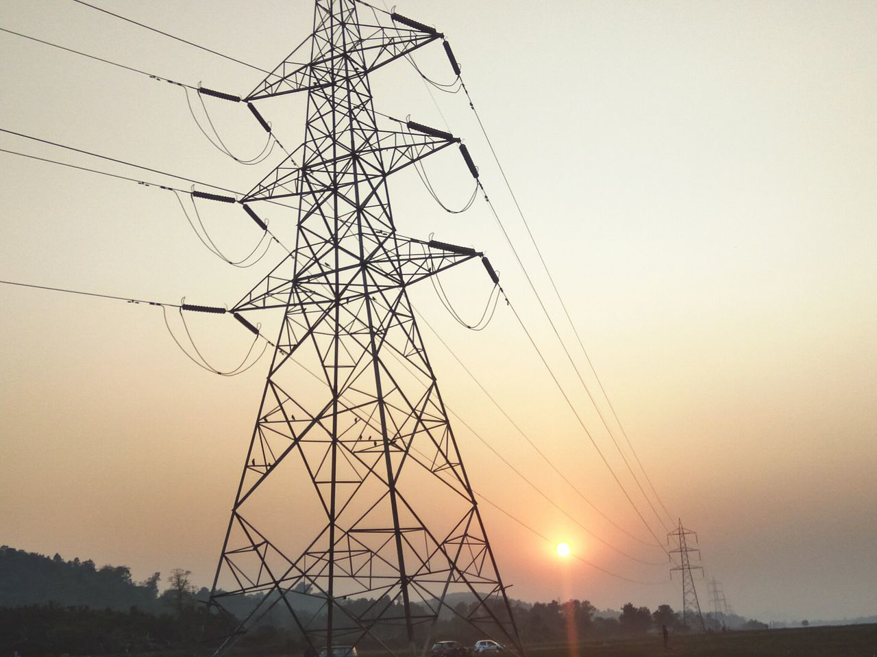cable, electricity pylon, electricity, power supply, connection, fuel and power generation, power line, sunset, electricity tower, no people, clear sky, silhouette, technology, sky, low angle view, tall, outdoors, tree, day, nature