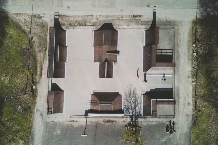 Urban shadows Aerial View Architecture Building Exterior Built Structure Day DJI Mavic Pro Drone  Flying High Lietuva Mavic Mavic Pro Outdoors People People Shadow Skate Park Skateboarding Spring
