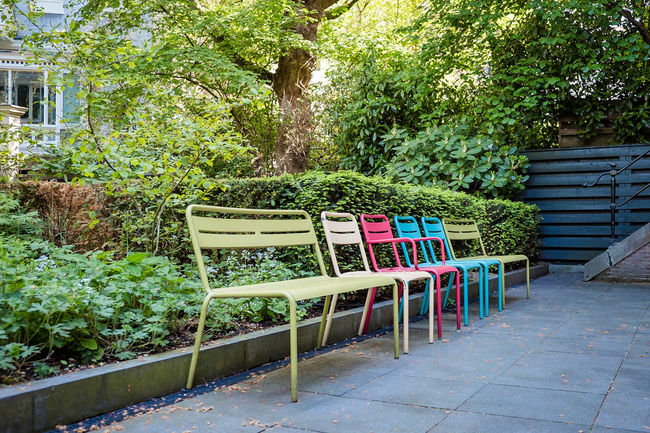 Amsterdam Chair Huis Marseille Absence Architecture Barrier Beauty In Nature Boundary Built Structure Chairs Day Empty Fence Green Color Growth In A Row Nature No People Outdoors Plant Railing Seat Seating Tree Wood - Material