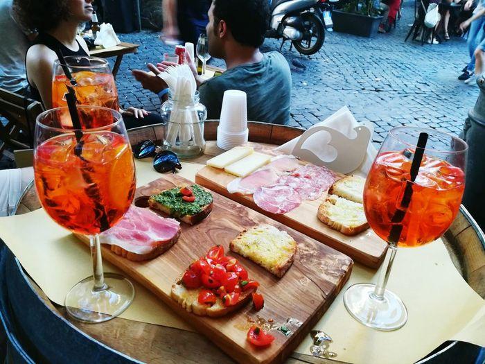 La Dolce Vita Food And Drink Plate Drinking Glass Aperol Spritz Aperitivo  Freshness Bruscetta Piazza Del Fico
