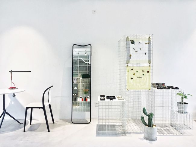 Mirror Chair No People Modern Indoors  Clean Simplicity Enjoying Life Relaxing Decoration Interior Design Home Interior Large Group Of Objects Cacti Plant
