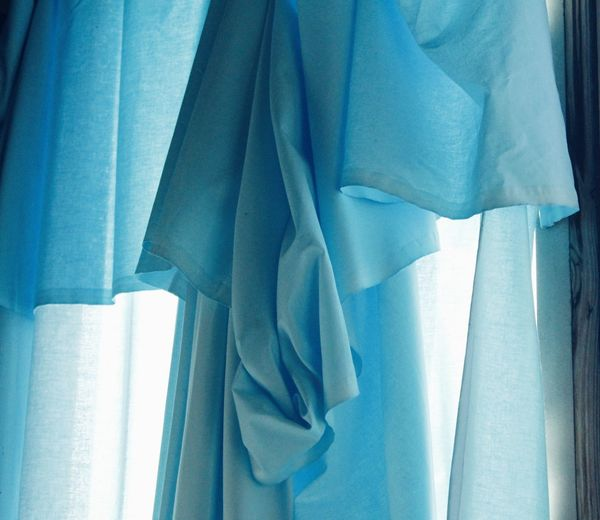 Blue Curtain Hanging Indoors  Material Satin Textile