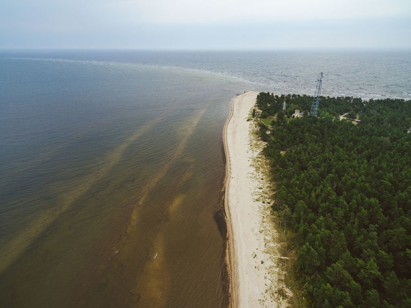 Aerial view of cape Kolka, Baltic sea, Latvia. Summer view. Cape Kolka Beach Beauty In Nature Day Horizon Over Water Nature No People Outdoors Sand Scenics Sea Sky Tranquil Scene Tranquility Water Wave