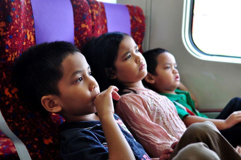 Siblings looking away while traveling in train