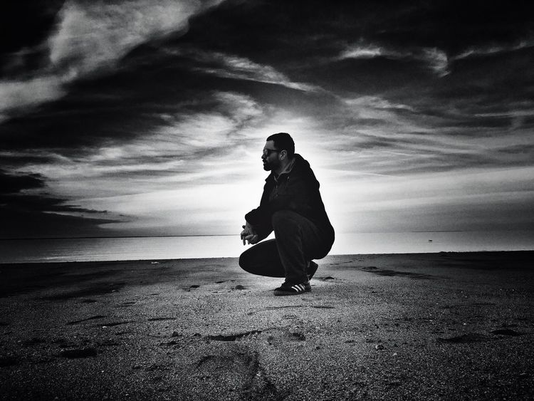 Black and white Blackandwhite Thinker Thinking About Life Thinking Pose That's Me Beach IPhoneography