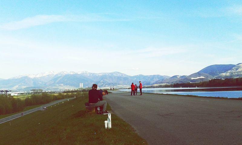 Longboarding Time Beautiful Day Friends Landscape Mountains Sport Blue Sky Wednesday