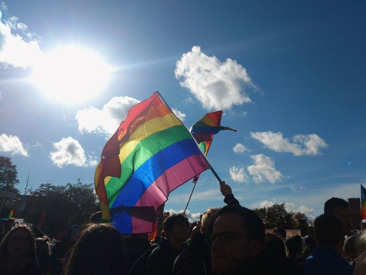 Human Rights LGBT Rainbows LGBT Parade Poland Crowd Large Group Of People Lgbt Parade People Rainbow Flag Real People Sky Society Togetherness