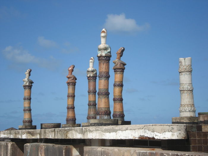 View Of Pillars Against Blue Sky