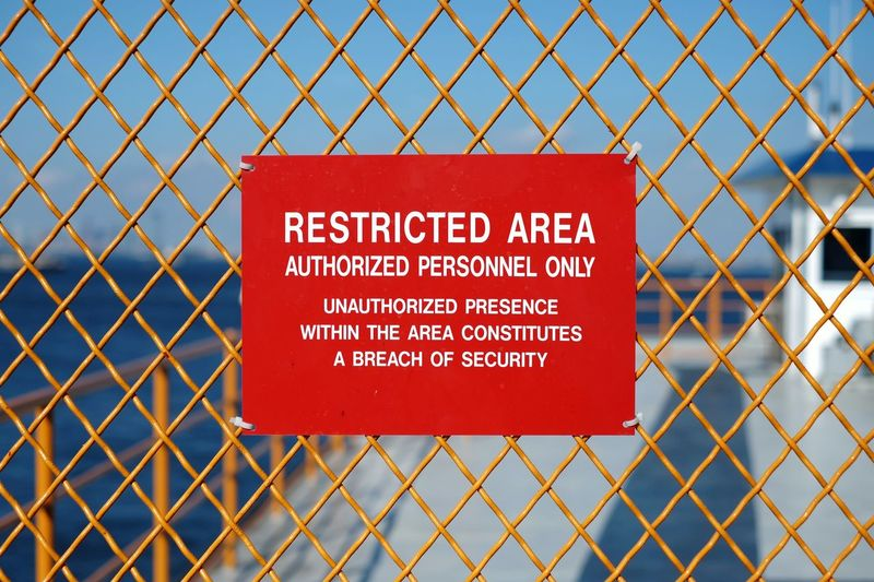 Deploying volumetric defense system! Security Signs Restricted Restriction You Shall Not Pass Fence New York City New York Ferry