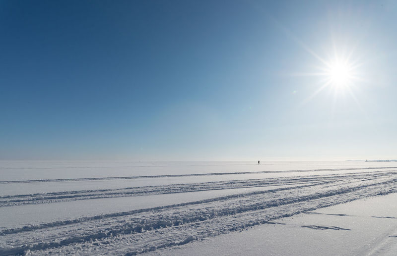 Scenic view of snow covered land against clear sky