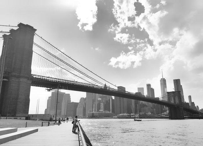 Brooklyn Bridge Blackandwhite New York Brooklyn Bridge / New York Architecture Built Structure Sky Cloud - Sky Building Exterior City Nature Bridge Water Travel Outdoors Tourism Travel Destinations Day