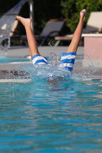 Person jumped in swimming pool