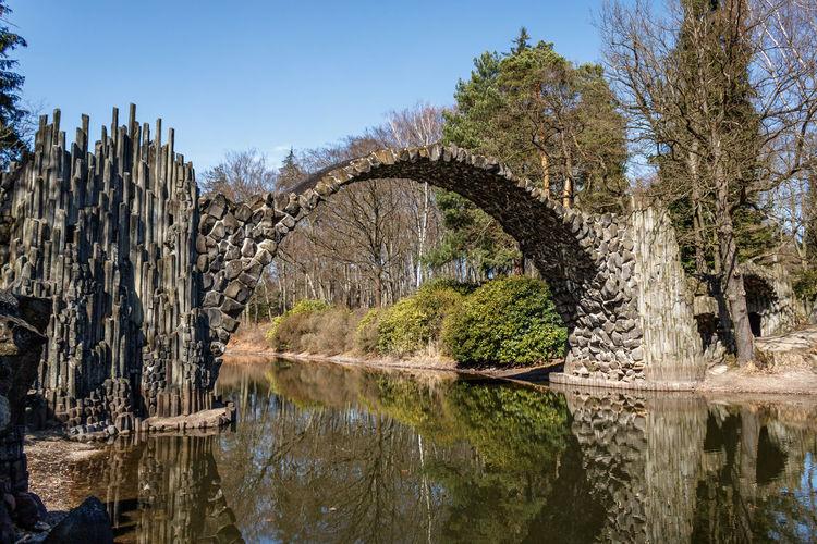 Devils bridge Bridge Devil's Bridge Water Circle Reflection Blue Sky No People Travel Destinations Wonderful Stones Door Tree Nature Outdoors Day Explore Visiting Sky Kromlau Kromlauer Park