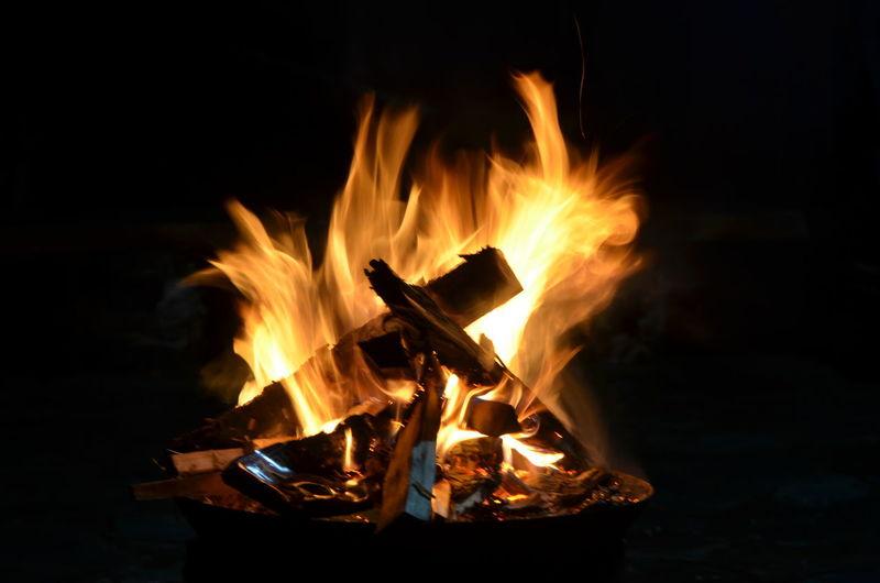 Close-up of campfire burning at night