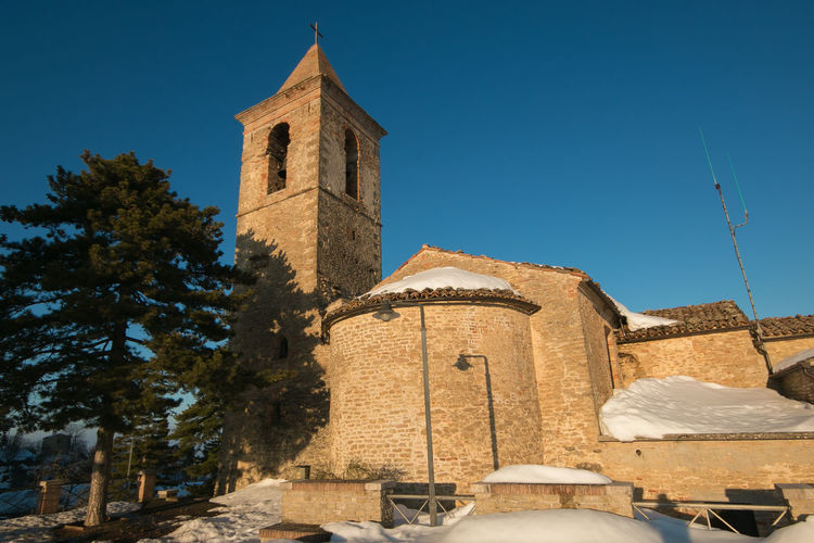 Church in the historic center of Montefalcone Appennino, Marche, Italy Church Travel Winter Architecture Belief Building Building Exterior Built Structure Clear Sky Europe History Italy Marche Montefalcone Appennino Nature Outdoor Place Of Worship Religion Religious  Sky Snow Spirituality The Past Tourism Travel Destinations