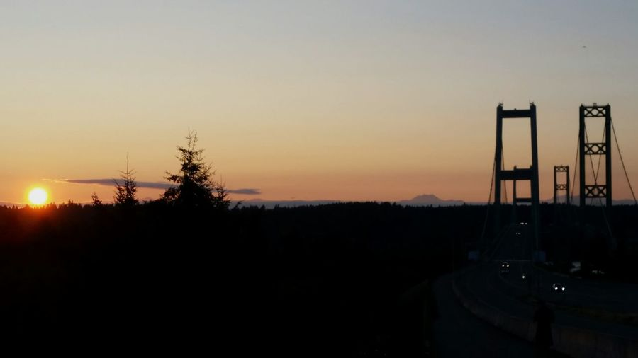 Sunset Silhouette No People Sky Nature Outdoors Beauty In Nature Bridge Narrows Bridge View Tacoma Narrows TacomaNarrowsBridges Live For The Story The Purist (no Edit, No Filter) The Great Outdoors - 2017 EyeEm Awards
