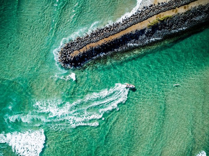 Sea Wave Water Beach Aerial View Nature Beauty In Nature Motion Nautical Vessel Day Outdoors
