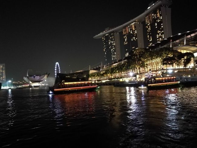 Night Illuminated Water Architecture Nightlife Travel Destinations Building Exterior City Built Structure City Life Nautical Vessel Outdoors No People Bridge - Man Made Structure Arts Culture And Entertainment Ferris Wheel Cityscape Skyscrapermarina bay sands Urban Skyline Sky