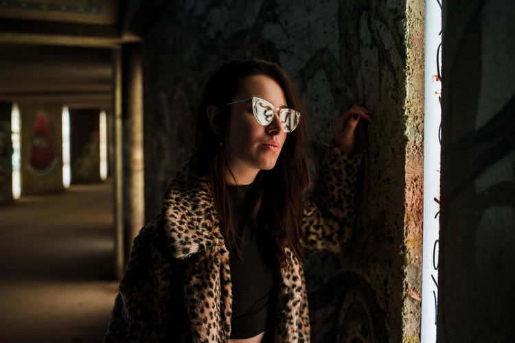 Lisanne in München City Life Graffiti Lifestyle Reflection Stylish Urban Lifestyle Urban Portrait Fur Indoors  Jacket Leopard Print One Woman Only Street Fashion Sunglasses Tunnel Young Adult Young Woman Young Women