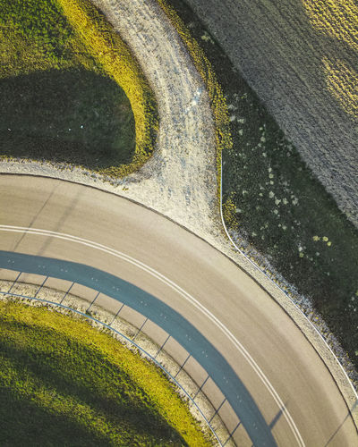 High angle view of road by trees