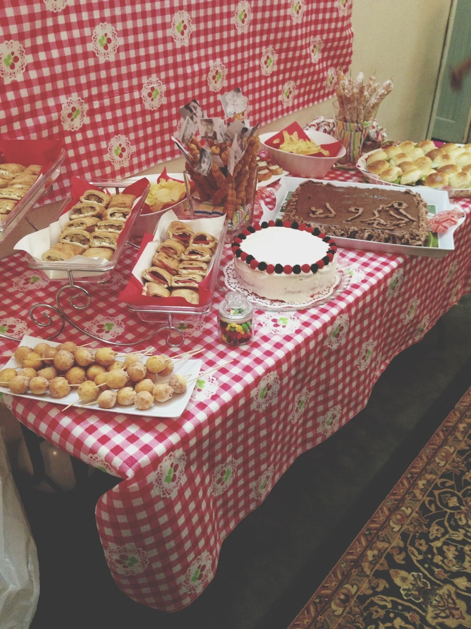 indoors, food and drink, still life, sweet food, table, food, freshness, dessert, cake, unhealthy eating, decoration, ready-to-eat, indulgence, plate, close-up, no people, high angle view, tradition, home interior, variation