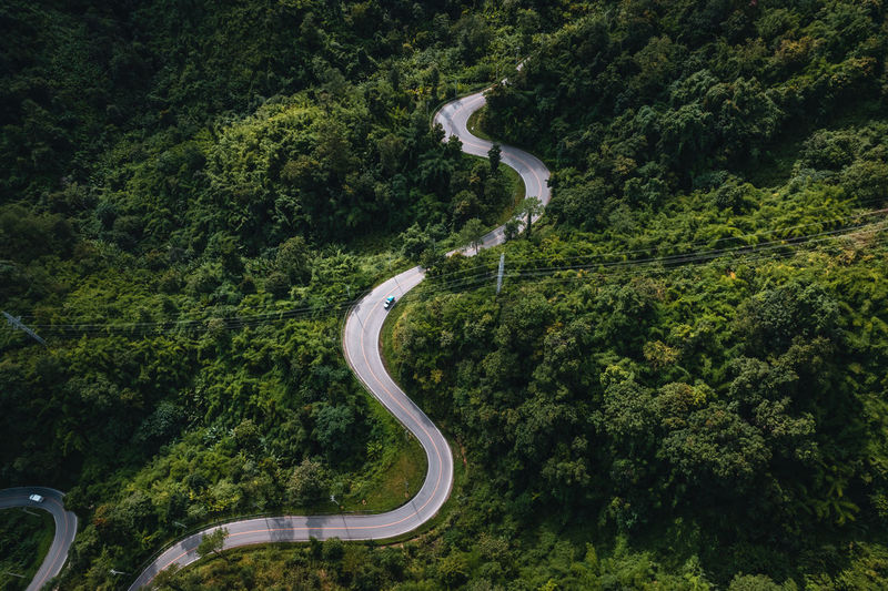 High angle view of winding road amidst trees