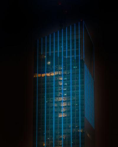 Modern building seen through window