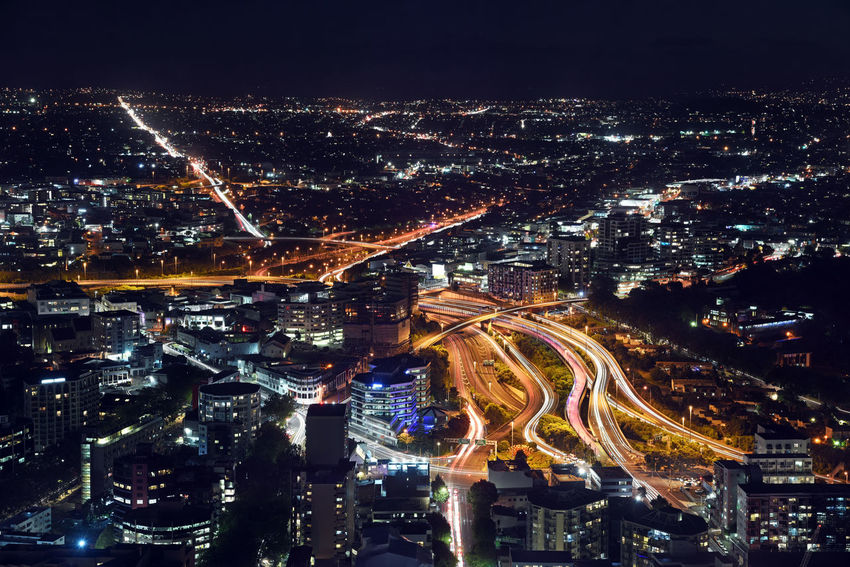 Spaghetti junction from Sky Tower in Auckland, New Zealand Auckland EyeEmNewHere Aerial View City Cityscape High Angle View Highway Modern New Zealand Night Road Sky Tower Spaghetti Junction Urban Skyline