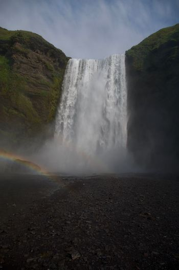 Iceland Rainbow Waterfall Power In Nature Nature Skogafoss Majestic