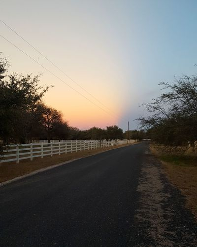 hill country skies Road Sunset Sky No People Nature Outdoors Beauty In Nature Clear Sky Tree Day