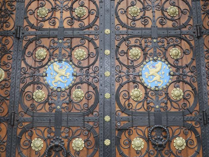 Full frame shot of patterned door of building