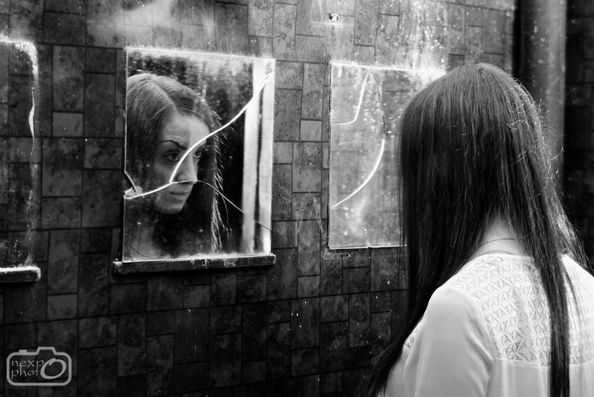 Girl from the horror movie Beautiful Black Blackandwhite Girl. Horror Indoors  Monochrome Only Women Portrait Portrait Of A Woman Rear View Reflection Scary Scary Face Scary Places