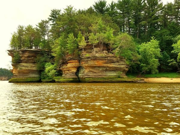 Wisconsin River Amphibious Vehicle Rock Formation Pine Trees