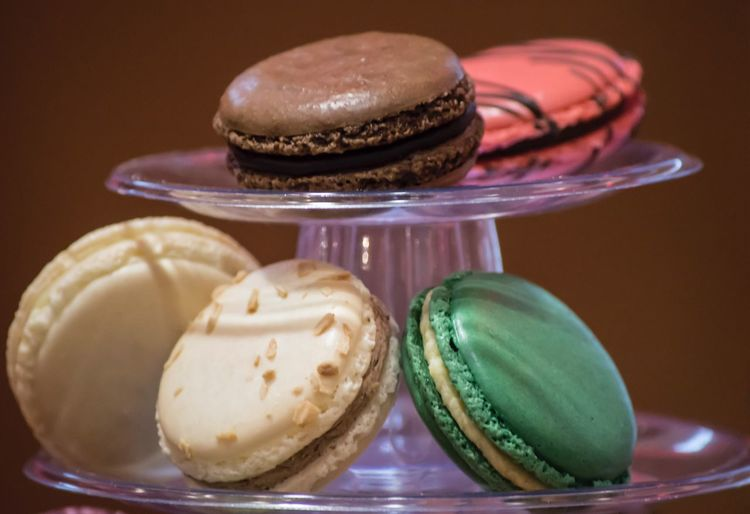 Close-Up Of Macaroons On Cakestand