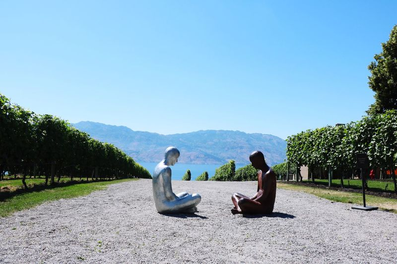 Statues Tree Nature Copy Space Day Mountain Yoga Clear Sky Sitting Full Length Tranquil Scene Outdoors Beauty In Nature Relaxation Tranquility Men Women Scenics Sky Real People One Person Beauty In Nature