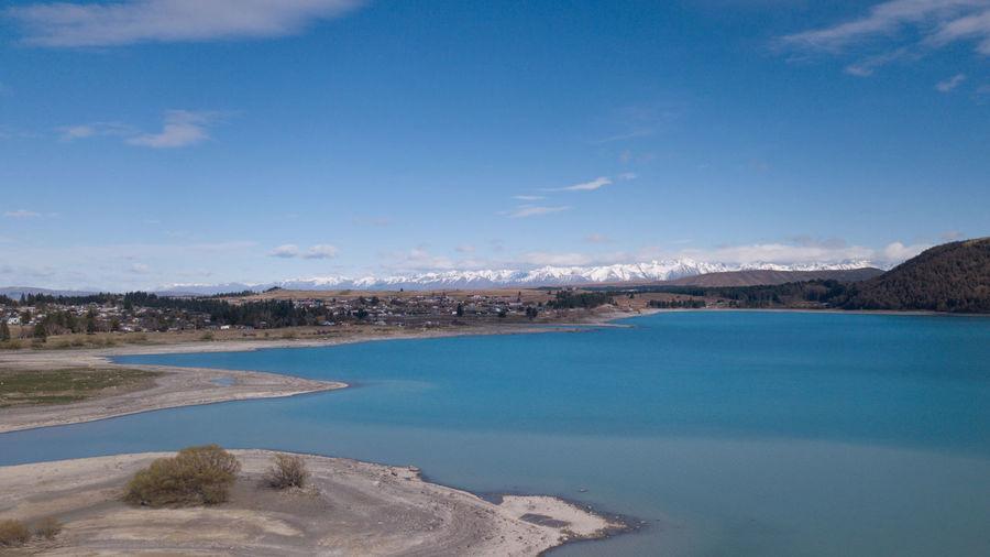 Aerial view of lake tekapo in south island, new zealand.