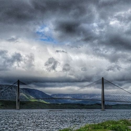 Cloud - Sky Dramatic Sky Storm Cloud Outdoors No People Sky Extreme Weather Water Sea Nature Horizon Over Water Day City bridge norway helgelandsbrua